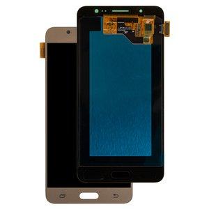 LCD Samsung J510 Galaxy J5 (2016), (golden, with touchscreen, Original (PRC), original glass)