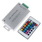 Regulador LED con control remoto IR HTL-010 (RGB, 5050, 3528, 144 W)