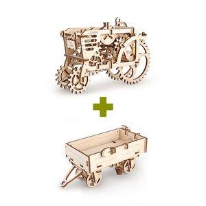 Механічний 3D-пазл UGEARS Набір 2 в 1: Трактор + Причіп